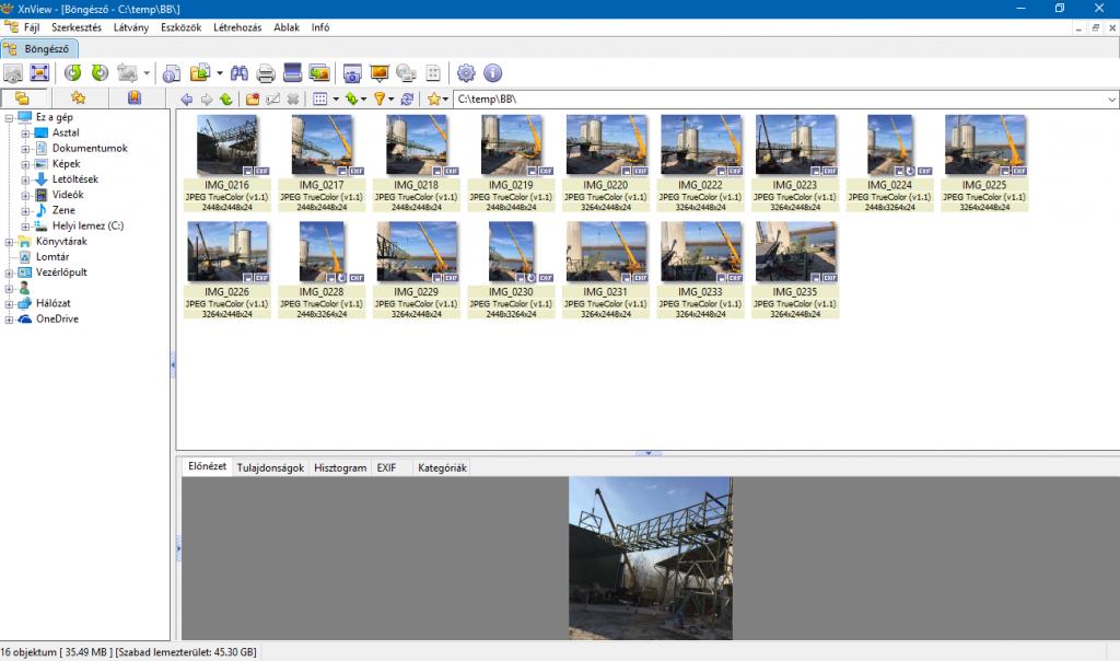 Xnview képernyő