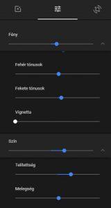 Google Fotók fényerő, színezet és telítettség